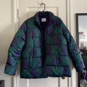 Green/blue flannel print Puffer from Old Navy